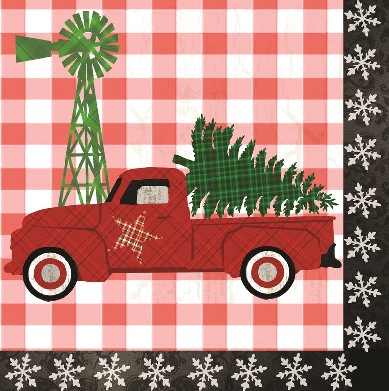 Farm Christmas Paper Luncheon Napkin
