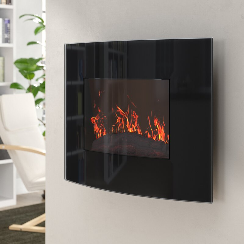 Bartow Curved Wall Mounted Electric Fireplace