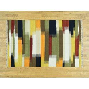 One-of-a-Kind Berwick Handmade Kilim Orange/Yellow Wool Area Rug Isabelline