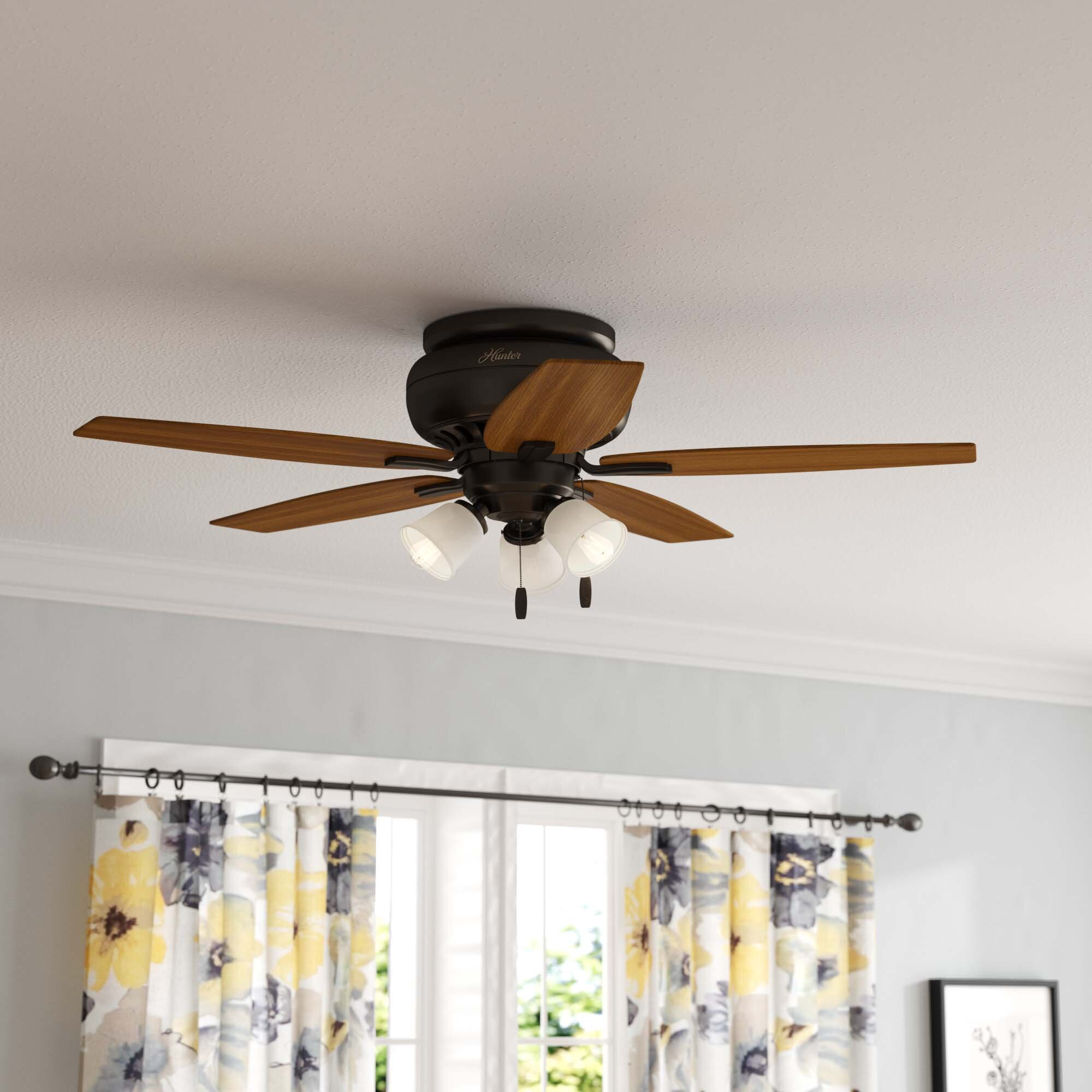 Hunter Fan 42 Newsome 5 Blade Flush Mount Ceiling Fan With Pull Chain And Light Kit Included Reviews Wayfair