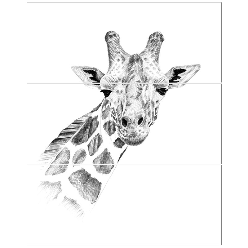 East Urban Home Pencil Giraffe Sketch In Black And White Drawing Print Multi Piece Image On Canvas Wayfair Ca