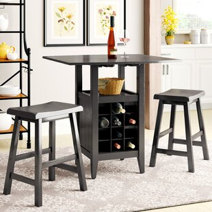 Carisbrooke 3 Piece Pub Table Set in Espresso Alcott Hill