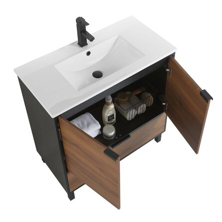 Fine Fixture  Bathroom Vanity And Sink, 36 Inch Walnut - ADA Compliant