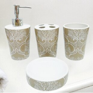Beau Almont Coral Life Ceramic 4 Piece Bathroom Accessory Set