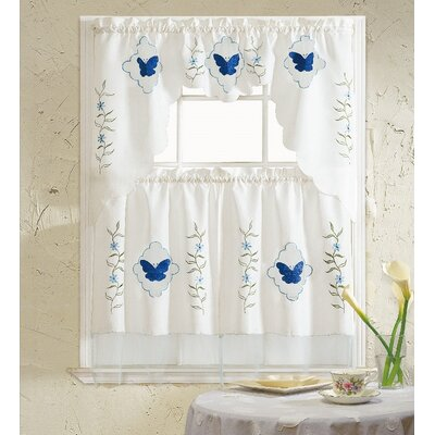 butterfly blue 3 piece kitchen curtain set