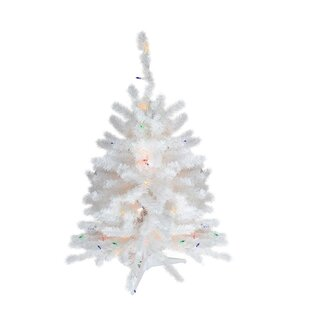 1 5 Snow White Pine Artificial Christmas Tree With 30 Multi Colored Lights Stand