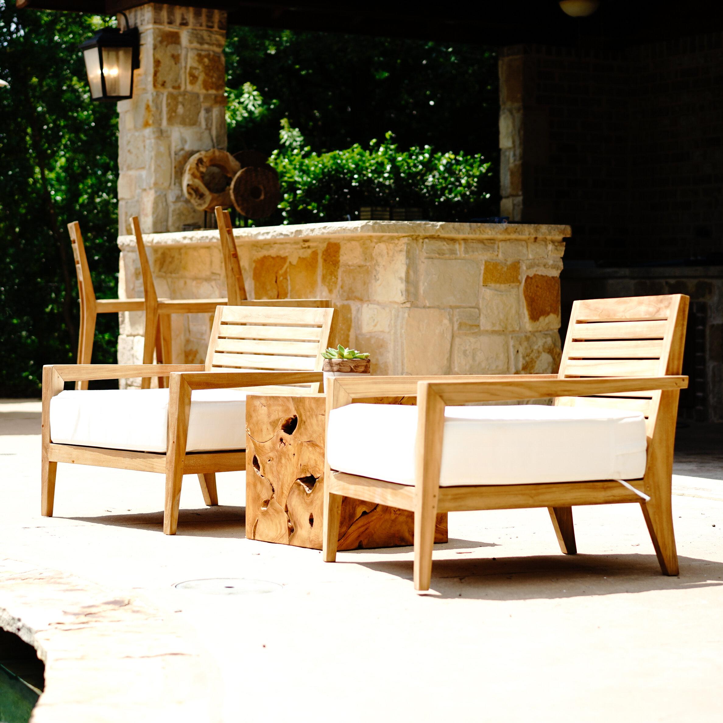 Beespoke Catalina Dahlia Teak Patio Chair With Cushions Wayfair