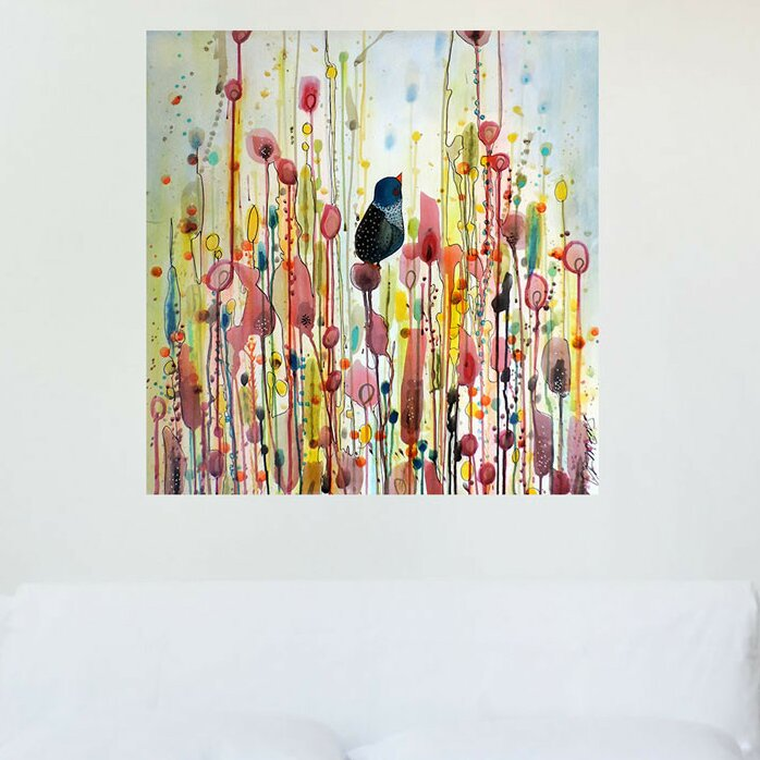 My Wonderful Walls Bird And Flower Watercolor Painting Ordinary Day By Sylvie Demers Wall Decal Wayfair