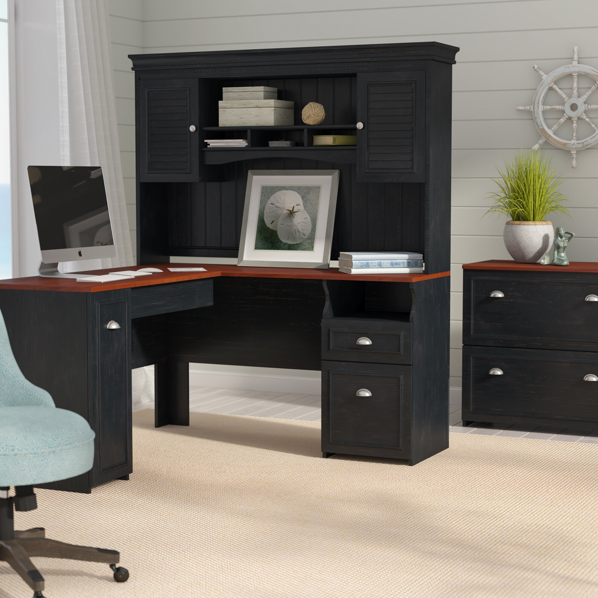 white co hutch and drawers with desk nongzi