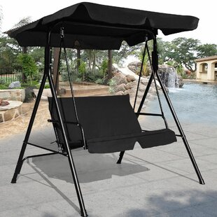 Winston Porter Priory Patio Loveseat Canopy Hammock Porch Swing with Stand