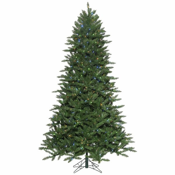 cheaper 2b673 cd8f0 7.5' Green Pine Artificial Christmas Tree with 900 LED Multi-Colored Lights  with Stand with Folding Metal Stand