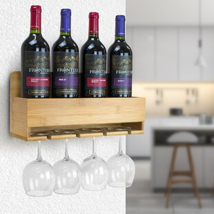 Harriett Bamboo 4 Bottle Wall Mounted Wine Rack