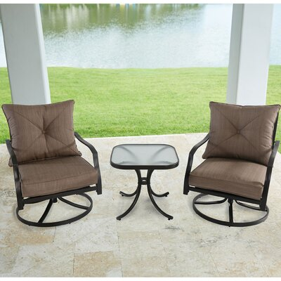Swell Keensburg Swivel 3 Piece Bistro Set With Cushions Andover Mills Caraccident5 Cool Chair Designs And Ideas Caraccident5Info