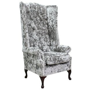 Rolston Velvet High-Back Wingback Chair By Canora Grey