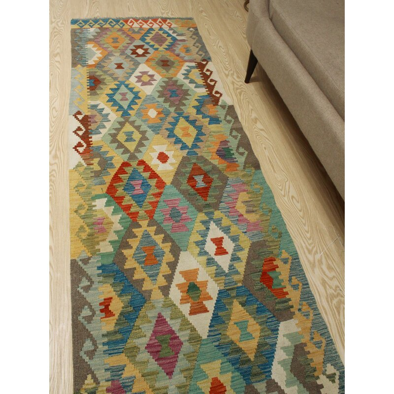 Foundry Select Runner Hults Southwestern Handmade Kilim Wool Green Blue Area Rug Wayfair