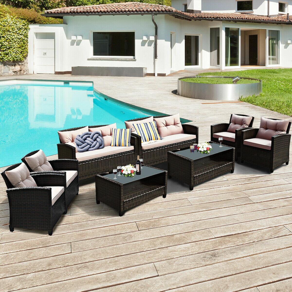 Ebern Designs Goberman 8 Piece Rattan Sofa Seating Group With Cushions Reviews Wayfair