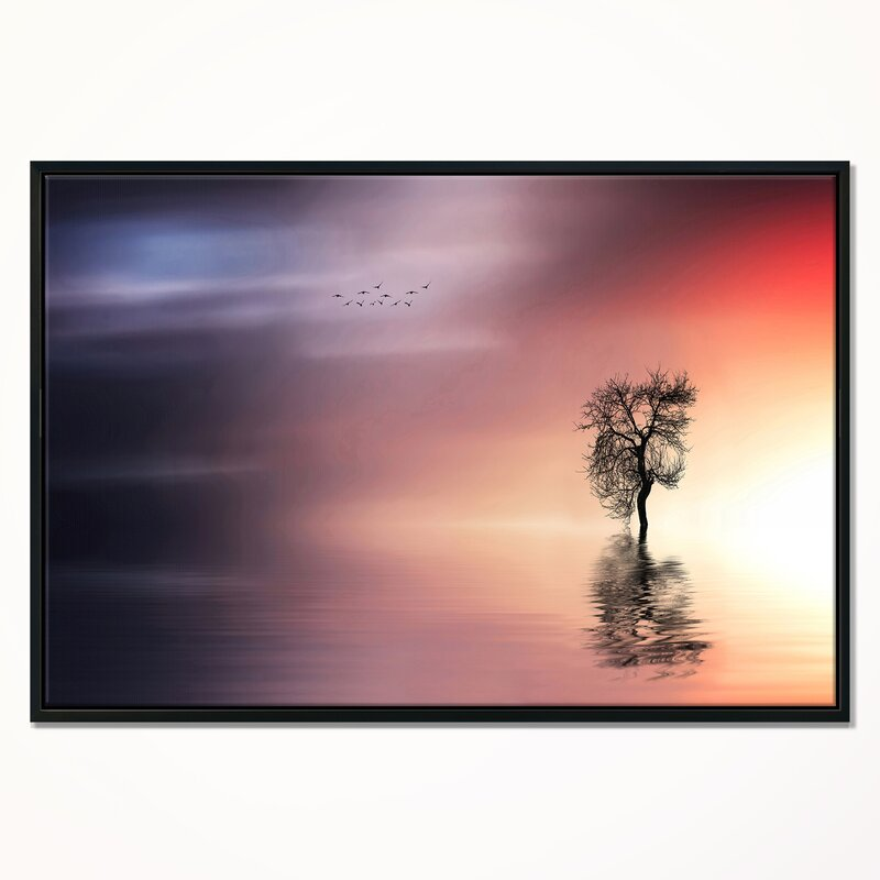 East Urban Home Solitude Tree And Flying Birds Framed Graphic Art Print On Wrapped Canvas Wayfair