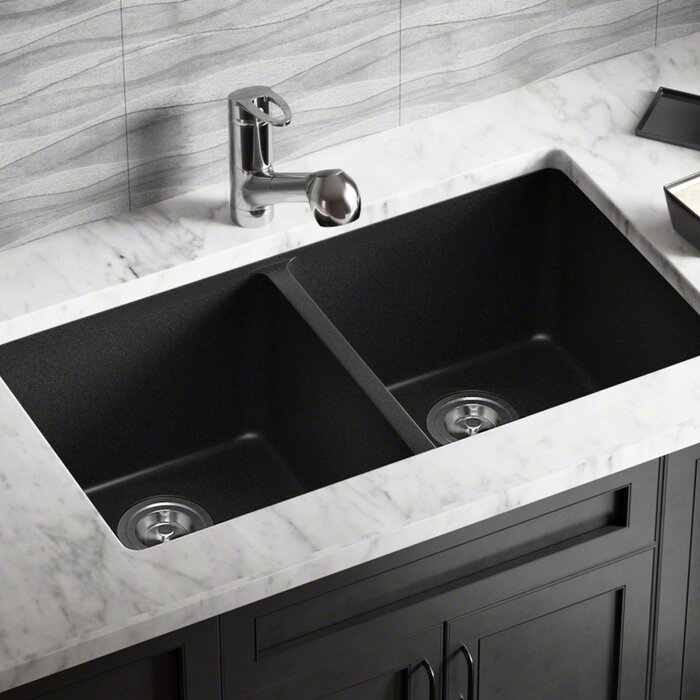 Granite Composite 32 L X 19 W Double Basin Undermount Kitchen Sink With Basket Strainers