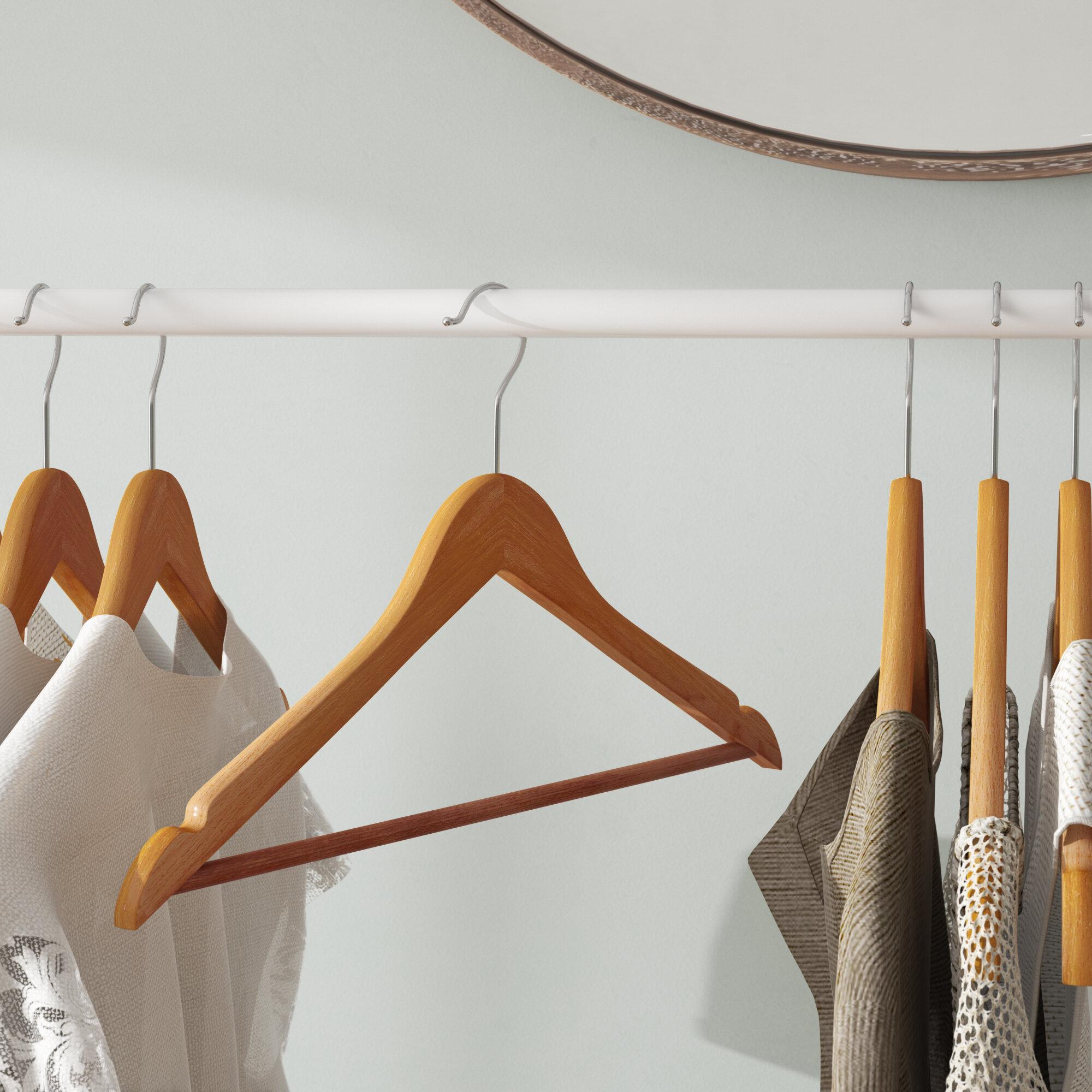 Amber Home American Red Cedar Wood Coat//Suit Hangers Deluxe Non Slip Bar 5 Pcs