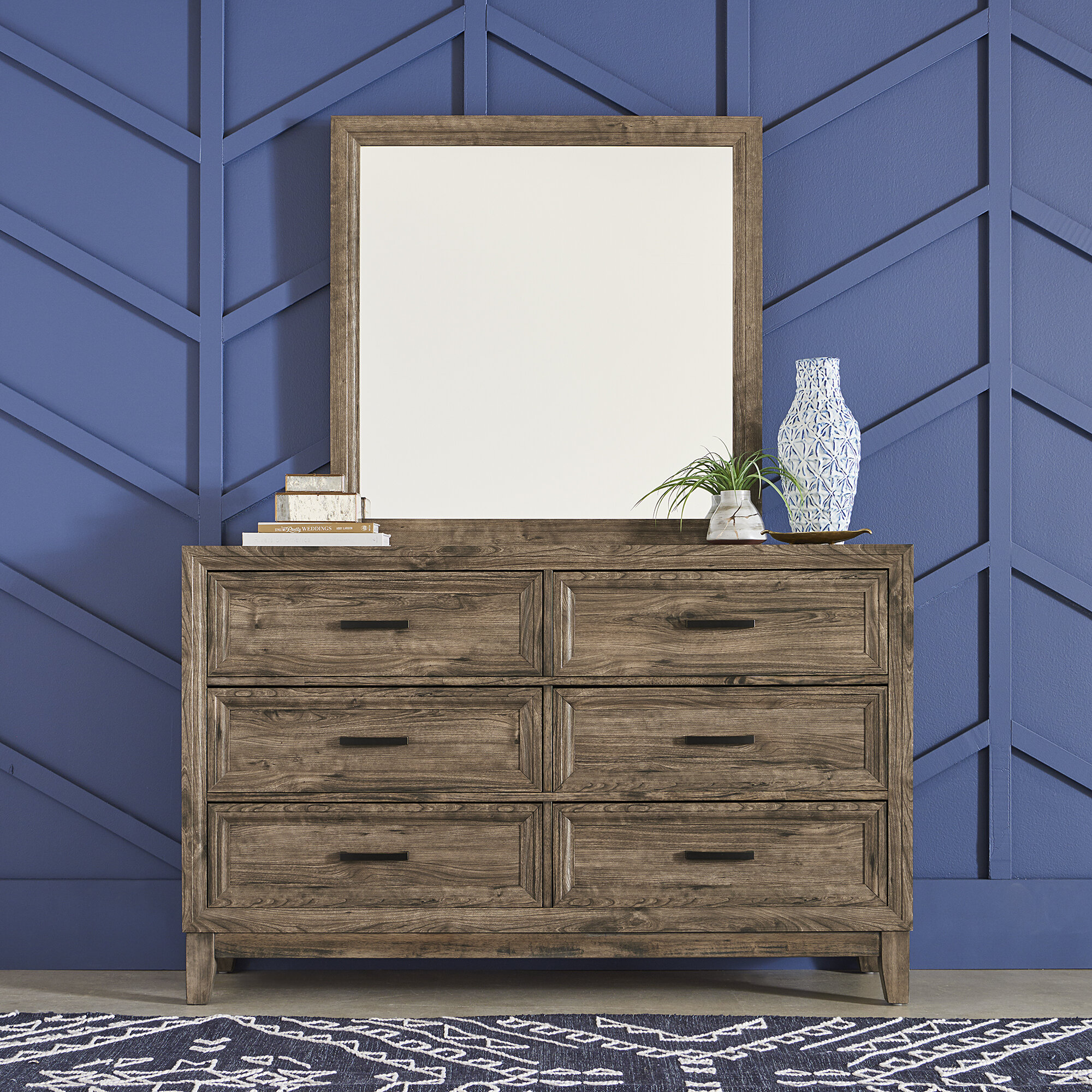Union Rustic Rhoton 6 Drawer Double Dresser With Mirror Reviews Wayfair