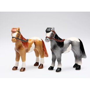 Brown and Black Horse 2 Piece Salt and Pepper Set