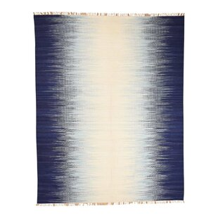 Affordable One-of-a-Kind Drews Flat Weave Ocean Burst Kilim Oriental Hand-Knotted Blue Area Rug By World Menagerie