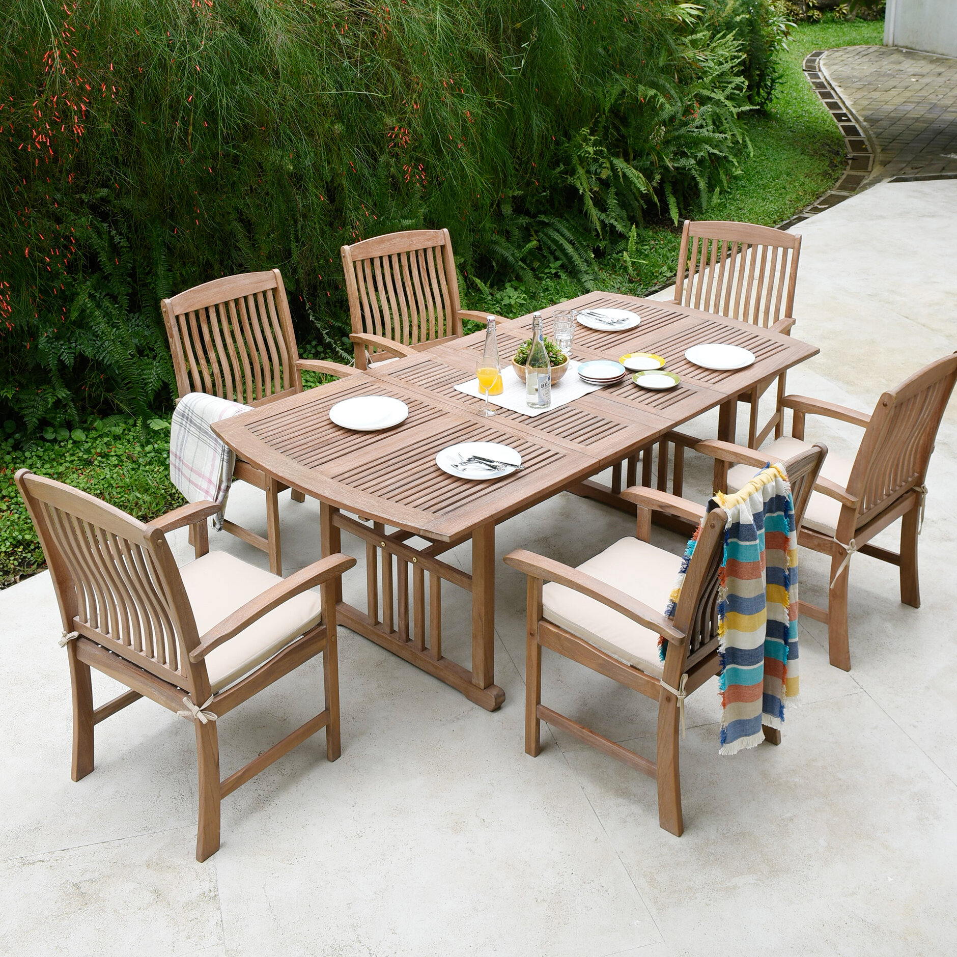 Gracie Oaks Corpuz 7 Piece Teak Dining Set With Cushions Reviews Wayfair
