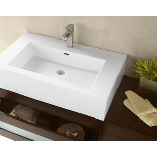 Coupon Prominent Ceramic Rectangular Vessel Bathroom Sink with Overflow By Ronbow