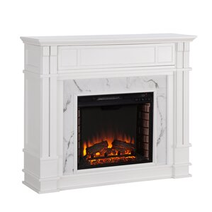 Alcott Hill Chesterbrook Faux Cararra Marble Wall Mount Electric Fireplace