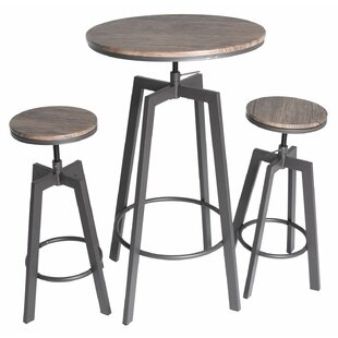 Hoskins Round Wood Top Metal Bar Bistro 3 Piece Adjustable Pub Table Set