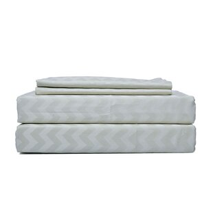 Hutchcraft Genuine Chevron 300 Thread Count 100% Cotton Sheet Set