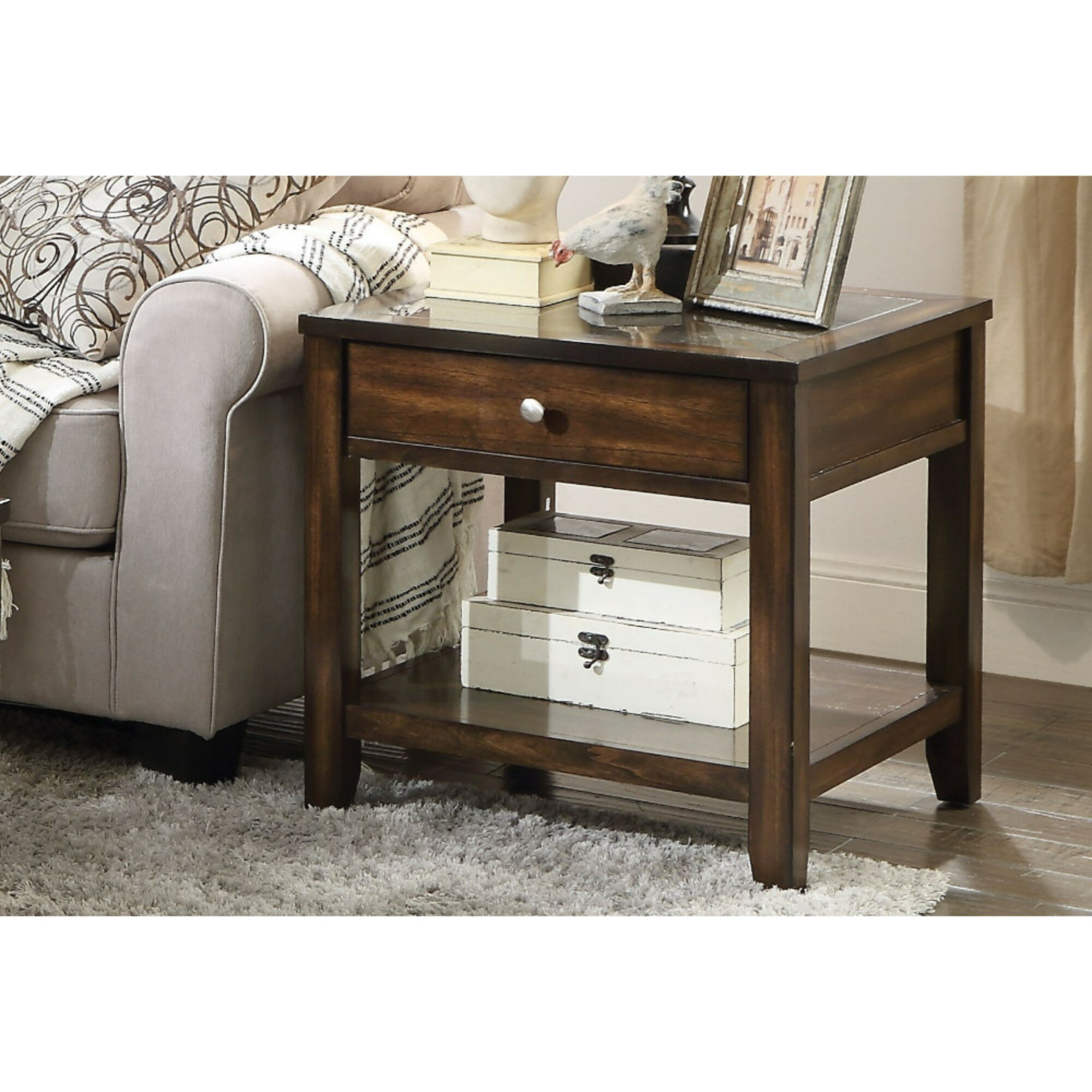 Alcott Hill Albie Top Marble Inlay End Table With Storage Wayfair