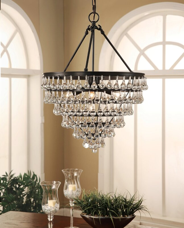 Elco tear drop 5 light crystal chandelier