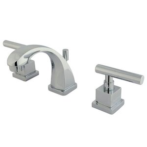 Claremont Mini Widespread Double Handle Bathroom Faucet with Brass Pop-Up Drain