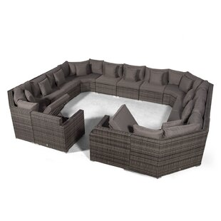 Villasenor Grey Rattan U Shape 13 Seat Sofa With 2 X Rectangle Coffee Table, Outdoor Patio Garden Furniture By Sol 72 Outdoor