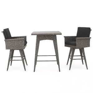 Washington 3 Piece Bar Table Set by Rosecliff Heights