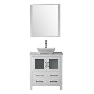 Cartagena 30 Single Bathroom Vanity Set with White Stone Top and Mirror