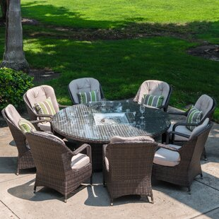Carnforth 9 Piece Dining Set with Cushions and Firepit
