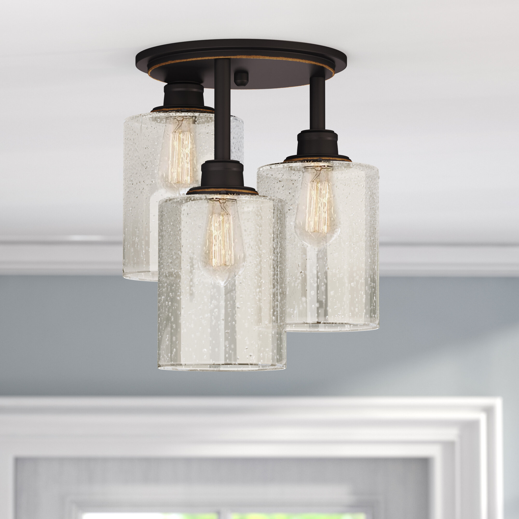 d56a056e125f9 Gracie Oaks Blackman 3-Light Semi Flush Mount   Reviews