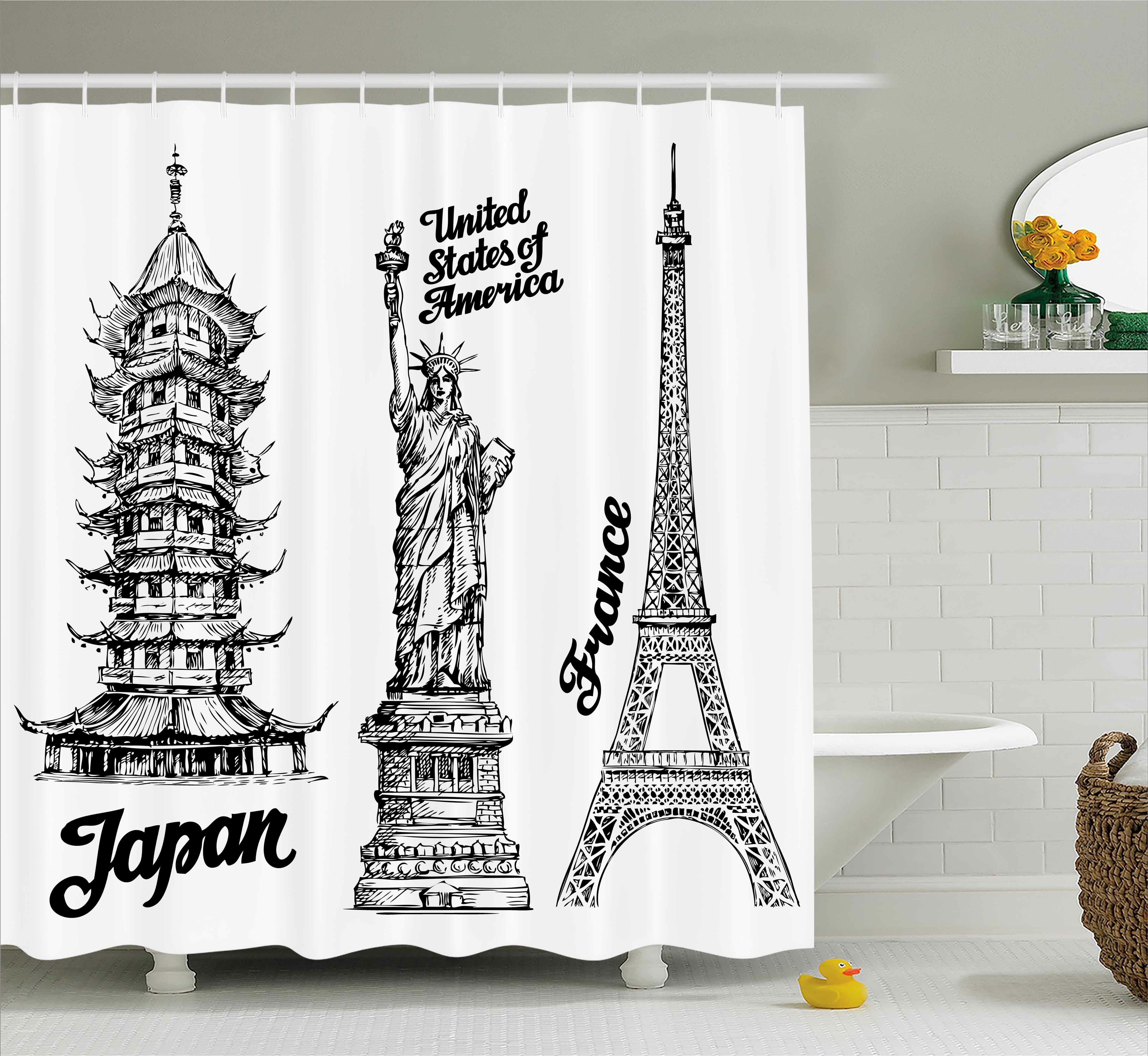 East Urban Home Tourist Japan Paris Building Shower Curtain