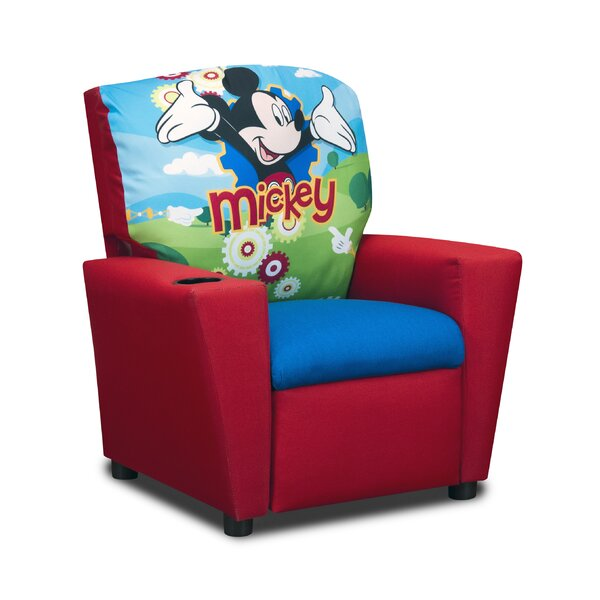 KidzWorld Disneyu0027s Mickey Mouse Clubhouse Kids Cotton Recliner Chair With  Cup Holder U0026 Reviews | Wayfair