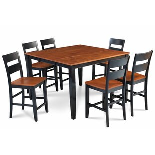 Bennet Solid Wood 7 Piece Counter Height Extendable Solid Wood Dining Set
