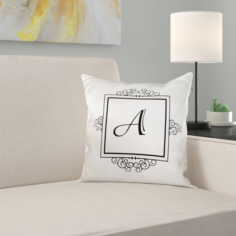 Trinx Initial Letter Personal Monogrammed Fancy Typography Elegant Stylish Personalized Pillow Cover Reviews Wayfair