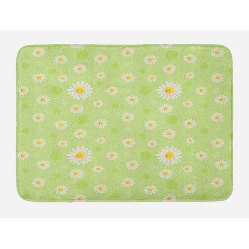Springtime Vivid Daisies Bath Rug