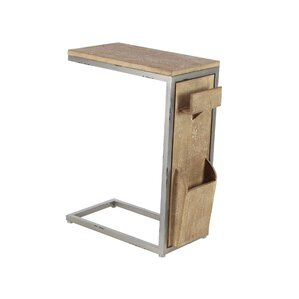 Baleine Modern Fir Wood And Iron C Shaped Multipurpose End Table With  Rectangular Top