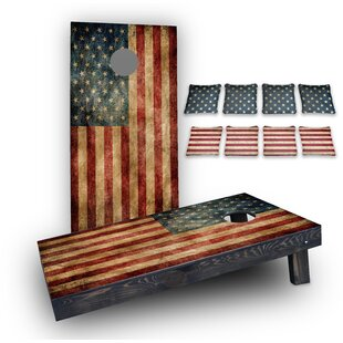Custom Cornhole Boards Worn American Flag Custom 10 Piece Cornhole Board Set