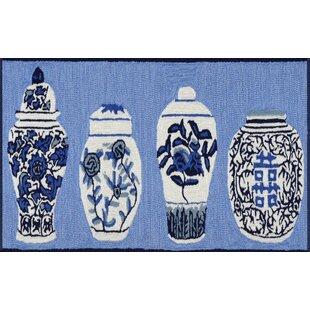Ardelle Ginger Jars Handmade Tufted Blue Indoor/Outdoor Area Rug