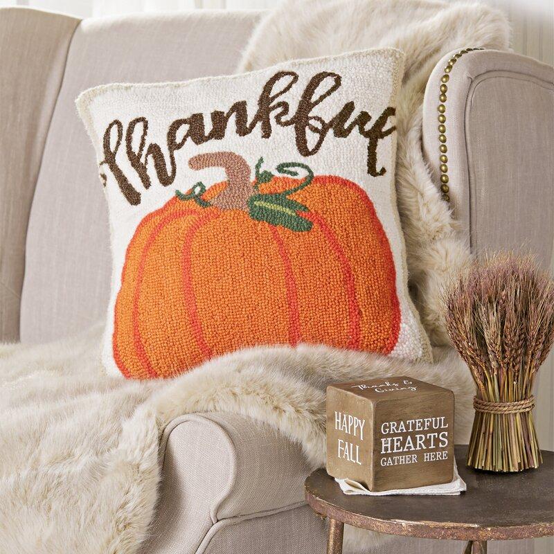 Mud Pie Thanks Giving Thankful Pumpkin Hooked Square Wool Throw Pillow Wayfair