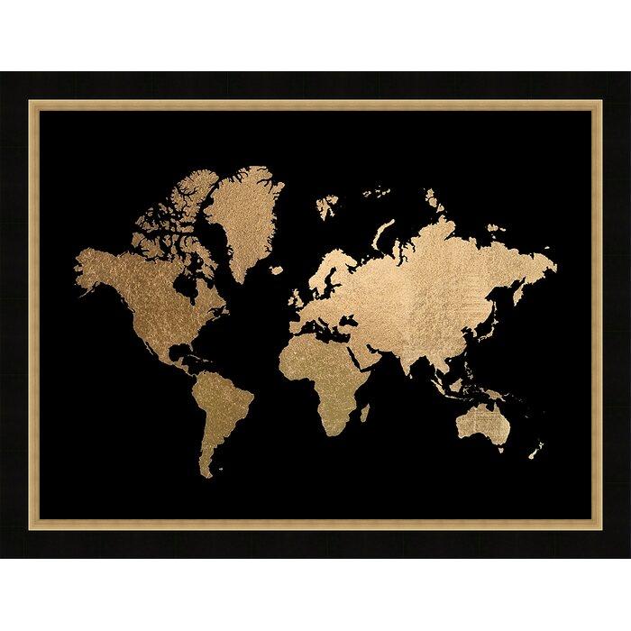 Brayden studio gold foil world map framed graphic art print gold foil world map framed graphic art print gumiabroncs Gallery