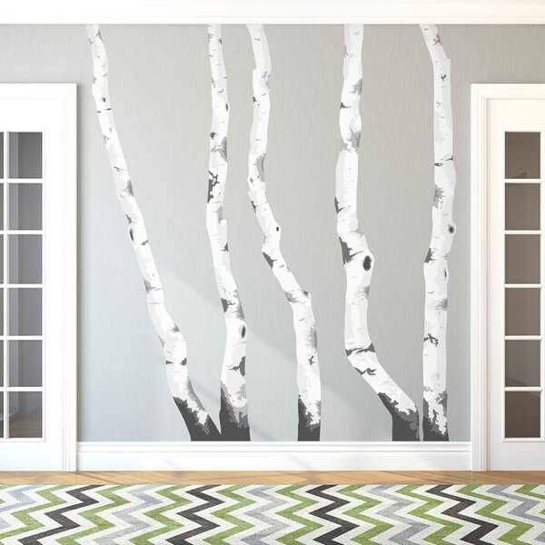 Wallums Wall Decor Illustrated Birch Trees Printed Wall Decal Reviews Wayfair